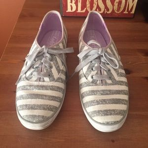 Keds Gray and White Striped Sneakers Size 9